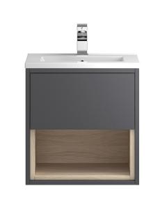 Hudson Reed Coast Grey Gloss Wall Hung 500 Cabinet & Basin 2 - CST975 CST975