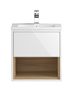 Hudson Reed Coast White Gloss Wall Hung 500 Cabinet & Basin 2 - CST985 CST985