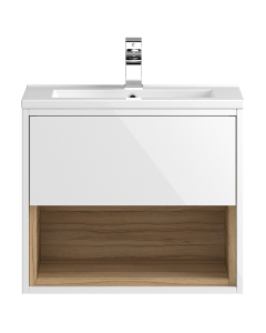 Hudson Reed Coast White Gloss Wall Hung 600 Cabinet & Basin 2 - CST986 CST986
