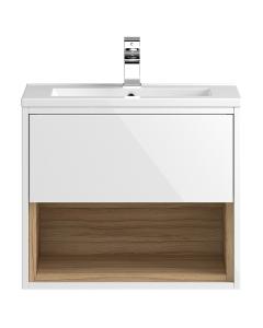 Hudson Reed Coast White Gloss Wall Hung 600 Cabinet & Basin 1 - CST986E CST986E