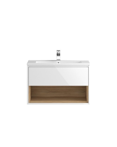 Hudson Reed Coast White Gloss Wall Hung 800 Cabinet & Basin 2 - CST988 CST988