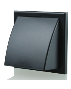 Blauberg Plastic Cowled Hooded Air Ventilation Wind Baffle Wall Grille - 125mm - Black BLA10143
