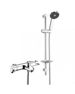 Deva Thermostatic Bath Shower Mixer with Satinjet Slider Rail Kit - Chrome - TLVBSM2B TLVBSM2B