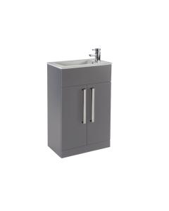 Aquatrend 550mm 2 Door Floor-Standing Cloakroom Unit In Dust Grey - CV29293/421-CV812 CV29293/421-CV812