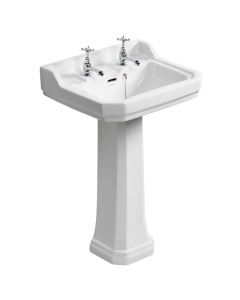 Ideal Standard Waverley Classic Basin with Full Pedestal 560mm W - 2 Tap Holes IS10267