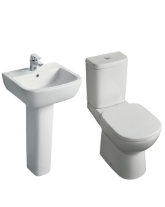 Ideal Standard Tempo Value Suite Close Coupled Toilet 1 Tap Hole Basin White IS10006