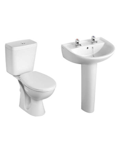 Armitage Shanks Sandringham 21 Bathroom Suite Toilet 550mm 2TH Basin Pillar Taps AS10127