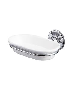 Burlington Traditional Soap Dish, Wall Mounted, White/Chrome BU10836
