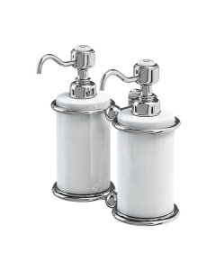 Burlington Traditional Double Soap Dispenser, Wall Mounted, White/Chrome BU10860