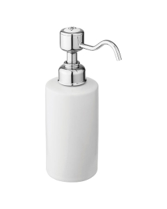 Burlington Traditional Single Soap Dispenser, Surface Mounted, White/Chrome BU10856