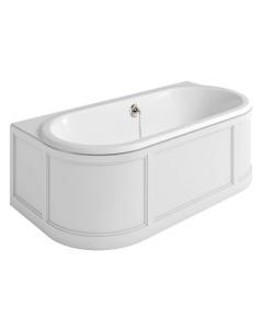 Burlington London Back to Wall Surround Acrylic Bath 1800mm x 950mm In Matt White - E23W BU10498