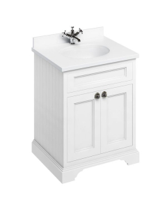 Burlington 65 2-Door Vanity Unit and White Basin 650mm Wide Matt White - 0 Tap Hole BU10276