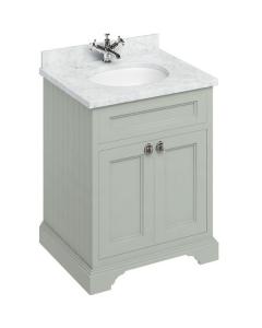 Burlington 65 2-Door Vanity Unit and Carrara White Basin 650mm Wide Olive - 0 Tap Hole BU10296