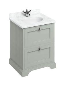 Burlington 65 2-Drawer Vanity Unit and Carrara White Basin 650mm Wide Olive - 0 Tap Hole BU10308