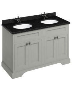 Burlington 130 4-Door Vanity Unit and Black Granite Basin 1300mm Wide Olive - 0 Tap Hole BU10343