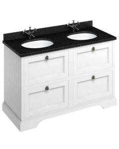Burlington 130 4-Drawer Vanity Unit and Black Granite Basin 1300mm Wide Matt White - 0 Tap Hole BU10341