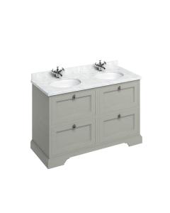 Burlington 130 4-Drawer Vanity Unit and Carrara White Basin 1300mm Wide Olive - 0 Tap Hole BU10336
