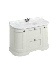 Burlington 134 Curved 2-Door Vanity Unit and Carrara White Basin 1300mm Wide Sand - 0 Tap Hole BU10377