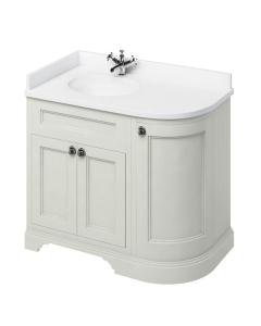 Burlington 100 Curved LH 3-Door Vanity Unit and White Basin 1000mm Wide Sand - 0 Tap Hole BU10393