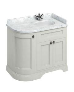 Burlington 100 Curved RH 3-Door Vanity Unit and Carrara White Basin 1000mm Wide Sand - 0 Tap Hole BU10404