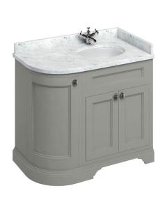 Burlington 100 Curved RH 3-Door Vanity Unit and Carrara White Basin 1000mm Wide Olive - 0 Tap Hole BU10424