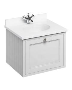 Burlington 65 Wall Hung Vanity Unit and White Basin 650mm Wide Matt White - 0 Tap Hole BU10283