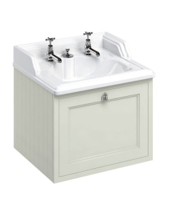 Burlington 65 Wall Hung Vanity Unit and Integrated Waste Basin 650mm Wide Sand - 2 Tap Hole BU10275