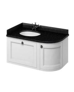 Burlington 100 Curved LH Wall Hung Vanity Unit Black Granite Basin 1000mm 0 Tap Hole - Matt White BU10412