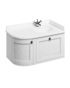 Burlington 100 Curved RH Wall Hung Vanity Unit and White Basin 1000mm Wide Matt White - 0 Tap Hole BU10408