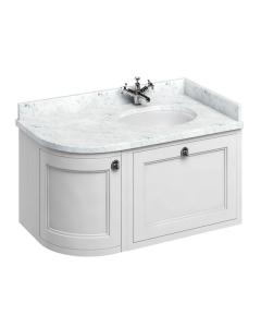 Burlington 100 Curved RH Wall Hung Vanity Unit Carrara White Basin 1000mm 0 Tap Hole - Matt White BU10418