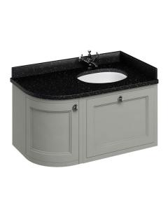 Burlington 100 Curved RH Wall Hung Vanity Unit and Black Granite Basin 1000mm 0 Tap Hole - Olive BU10388