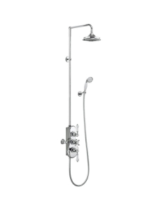 """Burlington Spey Triple Exposed Mixer Shower with Shower Kit + 9"""" Fixed Head BU10701"""