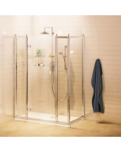 Burlington Traditional Inline Hinged Door Shower Enclosure with Tray 1200mm x 760mm, 8mm Glass BU10772