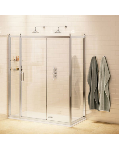 Burlington Traditional Sliding Door Shower Enclosure with Tray 1100mm x 900mm, 8mm Glass BU10765