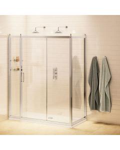 Burlington Traditional Sliding Door Shower Enclosure with Tray 1400mm x 900mm, 8mm Glass BU10780
