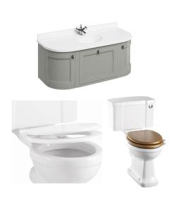 Burlington Furniture Bathroom Suite 1340mm Wide Vanity Unit Olive - 0 Tap Hole BU10871