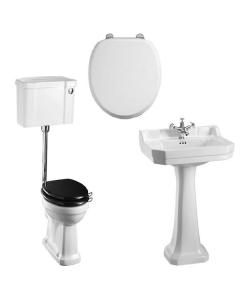 Burlington Bathroom Suite, Standard Low Level Toilet, Push Button Cistern BU10889