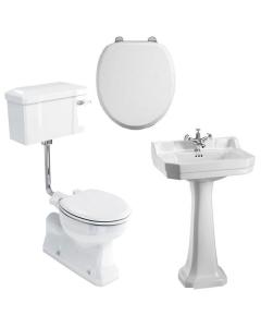 Burlington Bathroom Suite, S-Trap Low Level Toilet, Lever Cistern BU10890
