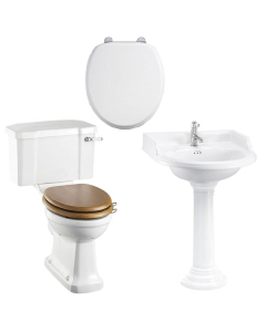 Burlington Bathroom Suite, 650mm Wide Classic Round Basin, 2 Tap Hole BU10893