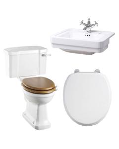 Burlington Bathroom Suite, 580mm Wide Semi-Recessed Basin, 1 Tap Hole BU10886