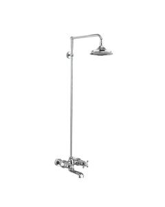 Burlington Tay WM Complete Bath Shower Mixer, Rigid Riser with Fixed 6 inch Head - Chrome BU10707
