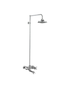 Burlington Tay WM Complete Bath Shower Mixer, Rigid Riser with Fixed 12 inch Head - Chrome BU10713