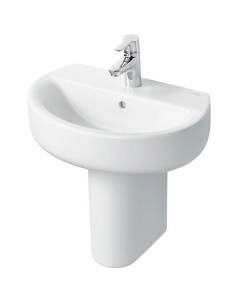 Ideal Standard Concept Space Sphere Short Projection Basin and Semi Pedestal 550mm x 380mm 1 Tap Hole IS10228