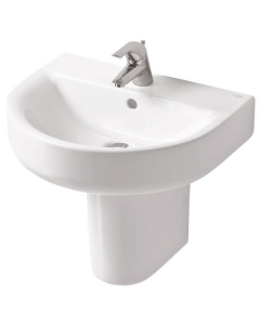 Ideal Standard Concept Arc Basin and Semi Pedestal 550mm Wide 1 Tap Hole IS10231