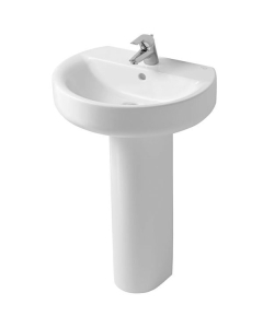 Ideal Standard Concept Sphere Basin and Full Pedestal 550mm Wide 1 Tap Hole IS10218