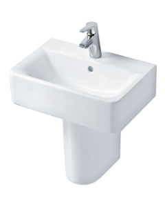 Ideal Standard Concept Cube Short Projection Basin and Semi Pedestal 550mm 1 Tap Hole IS10225