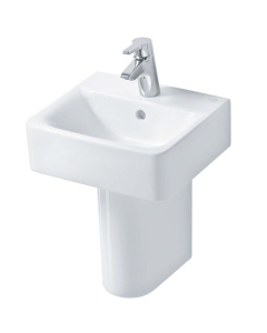 Ideal Standard Concept Cube Handrinse Basin and Semi Pedestal 400mm Wide 1 Tap Hole IS10198
