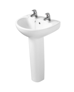 Ideal Standard Studio Basin and Full Pedestal 500mm Wide 2 Tap Holes IS10214