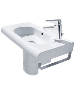 Roca Meridian-N Compact Basin and Semi Pedestal, 350mm Wide, 1 RH Tap Hole RO10123