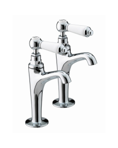 Bristan Renaissance High Neck Kitchen Sink Taps, Pair, Chrome RS HNK C